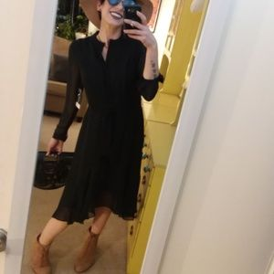Black Sheer Long Sleeve Midi Dress NWT